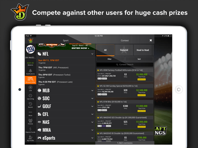 DraftKings iPad Screenshot