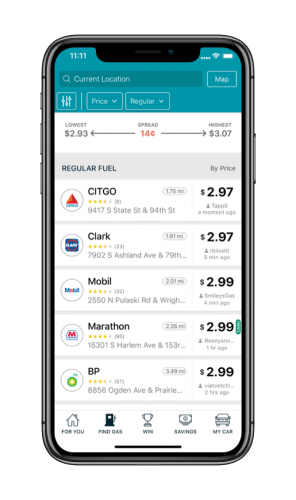 GasBuddy App List View