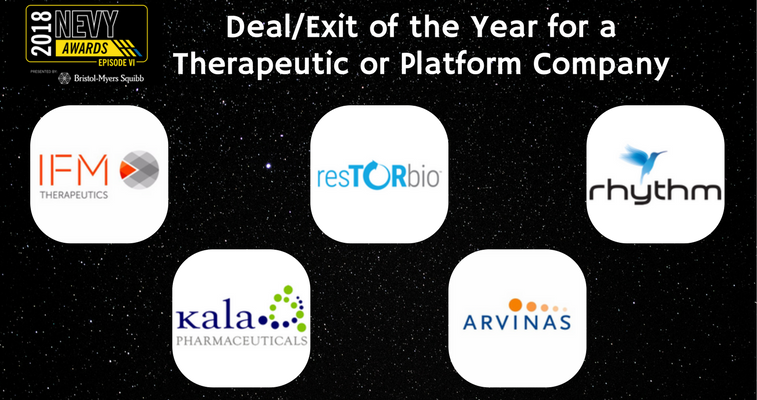 2018 NEVYs Deal Exit of the Year for a Therapeutic or Platform Company